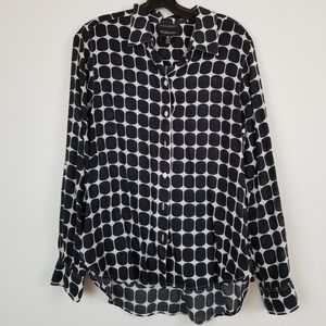 Foxcroft dotted pattern wrinkle free blouse